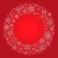 Vektorweihnachtsroter Hintergrund mit Schneeflockenkranz