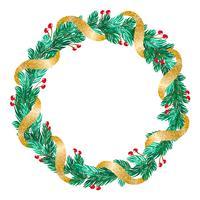 grön jul vektor krans med guldband och dekorationer på vit bakgrund med plats för text