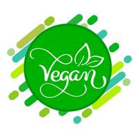 Veganes Logo-Konzept. Vektorzeichen Handschriftliche Beschriftung für Restaurantcafe