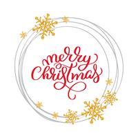 Vektortext der frohen Weihnachten kalligraphische Briefgestaltungskartenschablone Kreative Typografie für Feiertagsgruß-Geschenk-Plakat. Kalligraphie-Schriftstil Banner vektor