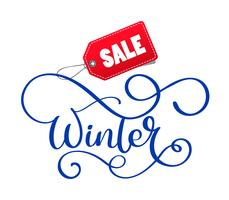 Geschriebene Aufschrift des Winterschlussverkaufs auf Weihnachtsweißhintergrund