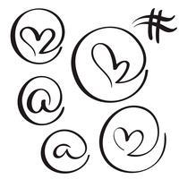 uppsättning blom kalligrafi vintage på simbol i hjärtform. Illustration vektor handritad EPS 10