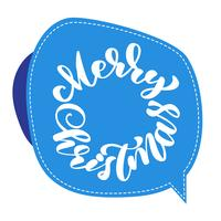 Text Frohe Weihnachten Hand geschrieben Kalligraphie Schriftzug auf dem Aufkleber. handgemachte vektorabbildung. Fun-Brush-Ink-Typografie für Foto-Overlays, T-Shirt-Druck, Flyer, Plakatgestaltung