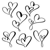 Set zwei Liebende Herzen. Handgemachte Vektorkalligraphie. Dekor für Grußkarten, Becher, Foto-Overlays, T-Shirt-Druck, Flyer, Plakatgestaltung