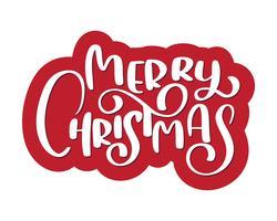 Kalligrafisk text God jul och en blom. Vektor illustration