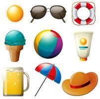 Beachwares mit Getränk und Gegenständen