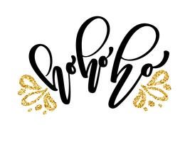 Ho-ho-ho jul kalligrafi vektor hälsningskort med modern pensel bokstäver. Banner för vintersäsong hälsningar