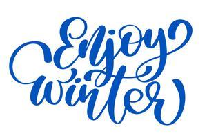 kalligrafi njut av vinter god julkort med. Mall för hälsningar, Grattis, Housewarming affischer, Inbjudningar, Foto överlagringar. Vektor illustration