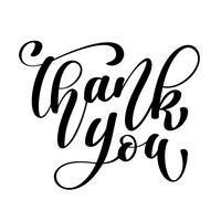 Tack handskriven inskription. Handtecknad bokstäver. Tack kalligrafi. Tack kort. Vektor illustration