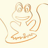 Kunstfrosch-Tierillustration der Linie 3D, Vektorillustration