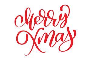 jultext Merry Xmas handskrivna kalligrafi bokstäver. handgjord vektor illustration. Rolig pensel bläck typografi för foto överlägg, t-shirt tryck, flygblad, affisch design