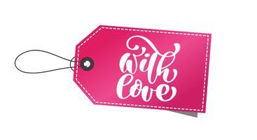 Dekorativ text med kärlekstag. Kalligrafisk julbokstäver Dekoration för gratulationskort, fotoöverlägg, t-shirt, flygblad, affischdesign