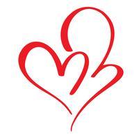 Två röda älskare hjärta. Handgjord vektor kalligrafi. Inredning för gratulationskort, fotoöverlägg, t-shirt, flygblad, affischdesign