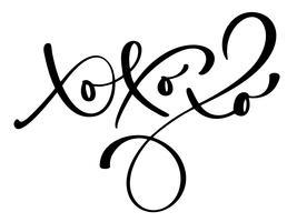 Xo-Xo-Xo julkalligrafi vektor hälsningskort med modern pensel bokstäver. Banner för vintersäsong hälsningar