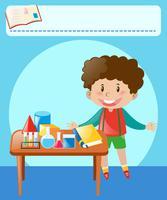 Kleiner Junge, der Experiment im Klassenzimmer tut vektor