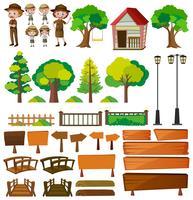 Parkwächter und Baumprodukte vektor