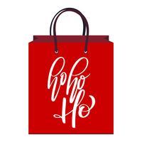 text Ho-ho-ho handskriven kalligrafi bokstäver på det röda paketet. handgjord vektor illustration. Rolig pensel bläck typografi för foto överlägg, väska, t-shirt tryck, flygblad, affisch design