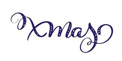 xmas blå vektor kalligrafisk bokstäver text för design jul hälsningkort. Semesterhälsningskortaffisch. Kalligrafi modern typsnitt
