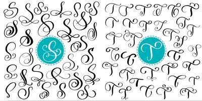 Sätta bokstaven S, T. Handdragen vektor blomstra kalligrafi. Skript typsnitt. Isolerade bokstäver skrivna med bläck. Handskriven penselstil. Handbokstäver för logotypemballage