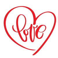 handskriven inskription KÄRLEK text och hjärta Lyckliga valentin dag kort, romantiskt citationstecken för design hälsningskort, mugg, tatuering, helgdag inbjudningar