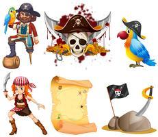 Piratkopiera med pirater och annan symbol vektor