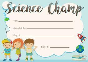 Science-Champion-Preisschablone mit Kindern im Hintergrund vektor