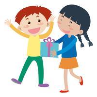 Mädchen gibt dem Jungen Geschenk vektor