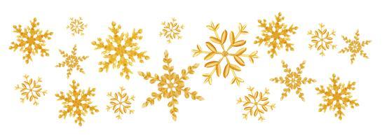 Weihnachtsgoldschneeflockenspritzen Schneeflocken einer gelegentlichen Streuung lokalisiert auf Weiß. Schneeexplosion Eissturm