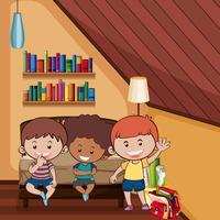 Tre lyckliga barn i sovrummet vektor