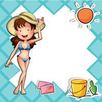En tjej som bär en bikini med en hatt
