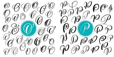 Stellen Sie Buchstaben O, P ein. Hand gezeichnete Vektorflorishkalligraphie. Skriptschriftart Isolierte Buchstaben mit Tinte geschrieben. Handschriftliche Pinselart. Handbeschriftung für Logos Verpackungsdesign Poster