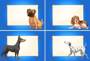 Fyra gränsmallar med söta hundar