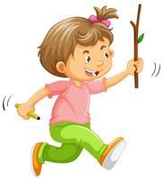 Ein Kind, das an Hand mit Stock läuft vektor