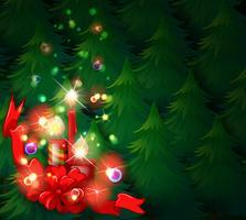 En juldesign med tända ljus vektor