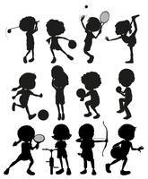 Silhuett barn spelar olika sporter