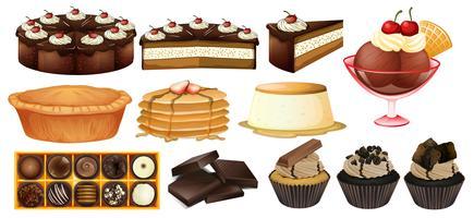 Olika typer av desserter vektor