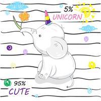 söt liten elefant enhörning vektor
