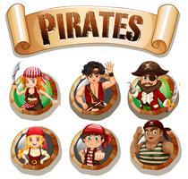 Piraten auf runden Abzeichen vektor