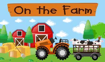 Bauernhofthema mit Kühen auf dem Traktor