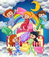 Fem tjejer i sovrummet på natten