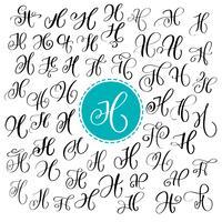 Set med handritad vektor kalligrafi brev H. Skript typsnitt. Isolerade bokstäver skrivna med bläck. Handskriven penselstil. Handbokstäver för logotypemballage. Typografisk uppsättning på vit bakgrund