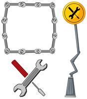 Gränsmall med verktyg