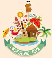 Urlaubsthema mit Kabinen- und Strandobjekten