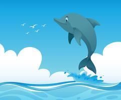 Ozeanszene mit dem Delphin, der oben springt vektor