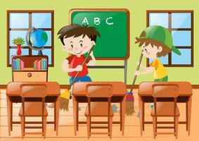 Två pojkar städar i klassrummet