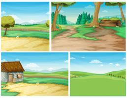Szene mit vier Hintergrund mit Straße zur Landschaft vektor