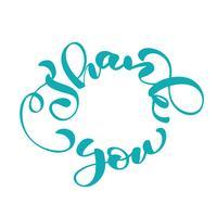 Tack, handskriven inskription i en cirkel. Handtecknad bokstäver. Tack kalligrafi. Tack kort. Vektor illustration
