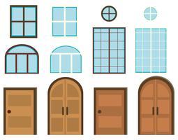 Verschiedene Arten von Fenstern und Türen vektor