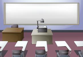 Klassrummet med projektor och skrivbord