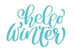 kalligrafi Hej vinter God julkort med. Mall för hälsningar, Grattis, Housewarming affischer, Inbjudningar, Foto överlagringar. Vektor illustration